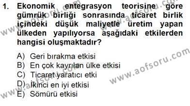 Uluslararası İktisat Teorisi Dersi 2012 - 2013 Yılı Dönem Sonu Sınavı 1. Soru