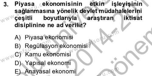 Kamu Ekonomisi 1 Dersi 2014 - 2015 Yılı Dönem Sonu Sınavı 3. Soru