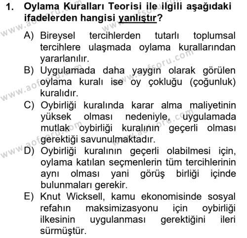 Kamu Ekonomisi 2 Dersi 2012 - 2013 Yılı Ara Sınavı 1. Soru