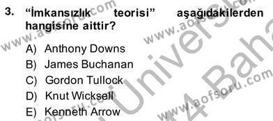 Kamu Ekonomisi 2 Dersi 2013 - 2014 Yılı Ara Sınavı 3. Soru