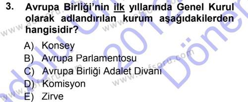 Uluslararası İlişkiler Bölümü 7. Yarıyıl Avrupa Birliği Dersi 2013 Yılı Güz Dönemi Dönem Sonu Sınavı 3. Soru
