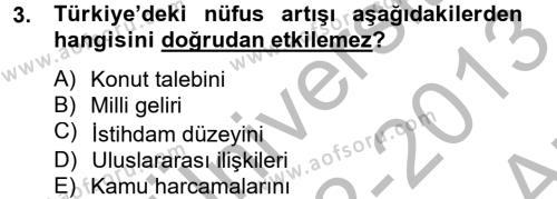 Türkiye Ekonomisi Dersi 2012 - 2013 Yılı Ara Sınavı 3. Soru