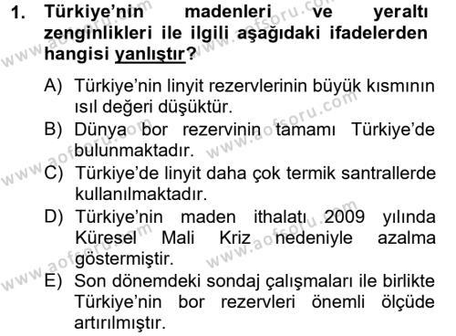 Türkiye Ekonomisi Dersi 2012 - 2013 Yılı Dönem Sonu Sınavı 1. Soru