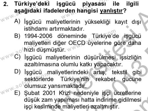 Maliye Bölümü 8. Yarıyıl Türkiye Ekonomisi Dersi 2013 Yılı Bahar Dönemi Dönem Sonu Sınavı 2. Soru