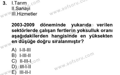 Maliye Bölümü 8. Yarıyıl Türkiye Ekonomisi Dersi 2013 Yılı Bahar Dönemi Dönem Sonu Sınavı 3. Soru