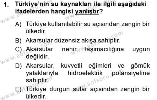 Türkiye Ekonomisi Dersi 2013 - 2014 Yılı Ara Sınavı 1. Soru