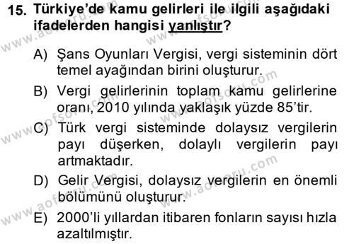 Türkiye Ekonomisi Dersi Ara Sınavı Deneme Sınav Soruları 15. Soru