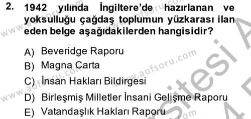 Yerel Yönetimler Bölümü 4. Yarıyıl Türkiye Ekonomisi Dersi 2014 Yılı Bahar Dönemi Ara Sınavı 2. Soru