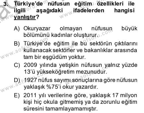 Yerel Yönetimler Bölümü 4. Yarıyıl Türkiye Ekonomisi Dersi 2014 Yılı Bahar Dönemi Ara Sınavı 3. Soru