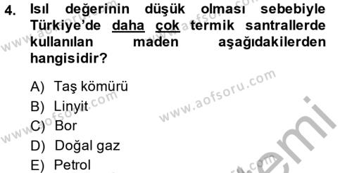 Yerel Yönetimler Bölümü 4. Yarıyıl Türkiye Ekonomisi Dersi 2014 Yılı Bahar Dönemi Ara Sınavı 4. Soru
