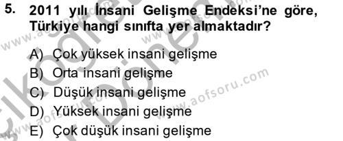 Yerel Yönetimler Bölümü 4. Yarıyıl Türkiye Ekonomisi Dersi 2014 Yılı Bahar Dönemi Ara Sınavı 5. Soru