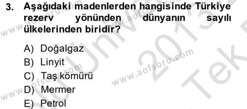 Türkiye Ekonomisi Dersi 2013 - 2014 Yılı Tek Ders Sınavı 3. Soru