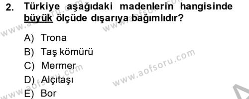 Türkiye Ekonomisi Dersi 2014 - 2015 Yılı Ara Sınavı 2. Soru