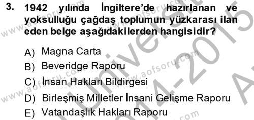 Türkiye Ekonomisi Dersi 2014 - 2015 Yılı Ara Sınavı 3. Soru