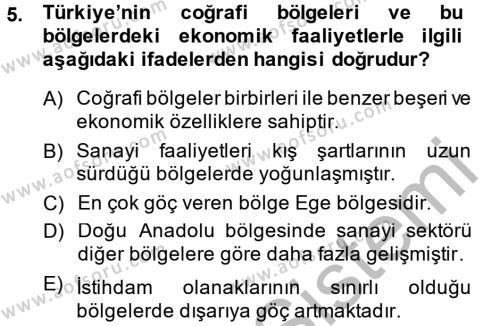 Uluslararası İlişkiler Bölümü 4. Yarıyıl Türkiye Ekonomisi Dersi 2015 Yılı Bahar Dönemi Ara Sınavı 5. Soru