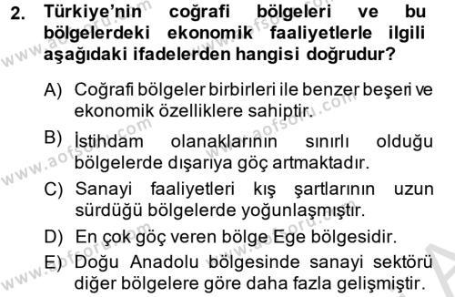 Türkiye Ekonomisi Dersi 2014 - 2015 Yılı Tek Ders Sınav Soruları 2. Soru