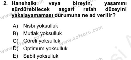 Yerel Yönetimler Bölümü 4. Yarıyıl Türkiye Ekonomisi Dersi 2016 Yılı Bahar Dönemi Ara Sınavı 2. Soru