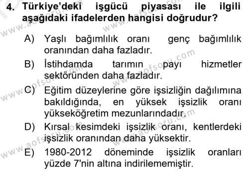 Yerel Yönetimler Bölümü 4. Yarıyıl Türkiye Ekonomisi Dersi 2016 Yılı Bahar Dönemi Ara Sınavı 4. Soru