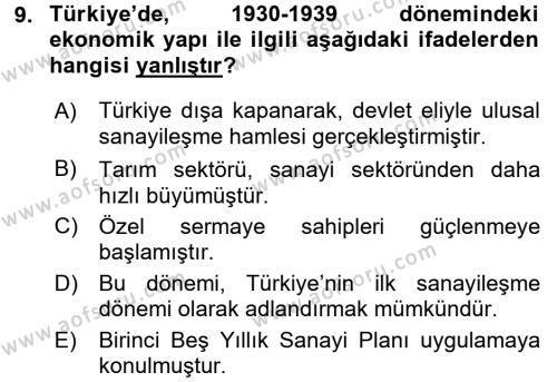 Türkiye Ekonomisi Dersi Ara Sınavı Deneme Sınav Soruları 9. Soru