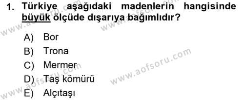 Türkiye Ekonomisi Dersi 2015 - 2016 Yılı Dönem Sonu Sınavı 1. Soru