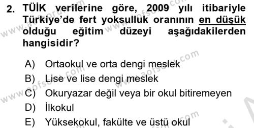 Türkiye Ekonomisi Dersi 2015 - 2016 Yılı Dönem Sonu Sınavı 2. Soru