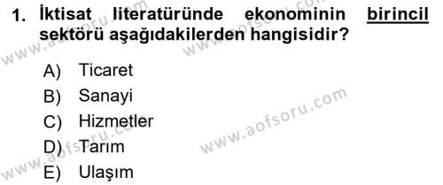 Türkiye Ekonomisi Dersi 2016 - 2017 Yılı 3 Ders Sınav Soruları 1. Soru