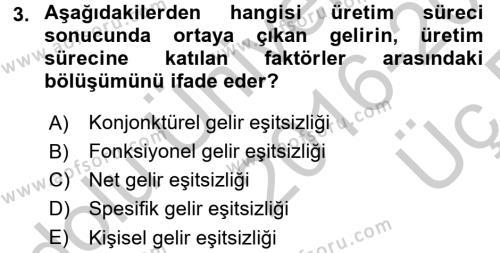 Türkiye Ekonomisi Dersi 2016 - 2017 Yılı 3 Ders Sınav Soruları 3. Soru