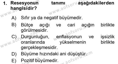 Türkiye Ekonomisi Dersi 2016 - 2017 Yılı (Final) Dönem Sonu Sınav Soruları 1. Soru