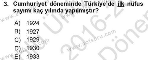Türkiye Ekonomisi Dersi 2016 - 2017 Yılı (Final) Dönem Sonu Sınav Soruları 3. Soru