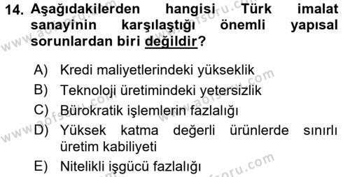 Türkiye Ekonomisi Dersi 3 Ders Sınavı Deneme Sınav Soruları 14. Soru