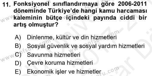Türkiye Ekonomisi Dersi Ara Sınavı Deneme Sınav Soruları 11. Soru