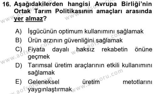 Türkiye Ekonomisi Dersi Ara Sınavı Deneme Sınav Soruları 16. Soru