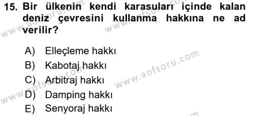 Türkiye Ekonomisi Dersi 3 Ders Sınavı Deneme Sınav Soruları 15. Soru