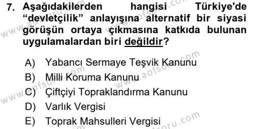 Türkiye Ekonomisi Dersi Ara Sınavı Deneme Sınav Soruları 7. Soru