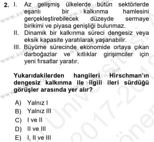 İktisadi Kalkınma Dersi 2017 - 2018 Yılı (Final) Dönem Sonu Sınav Soruları 2. Soru