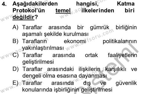 Avrupa Birliği ve Türkiye İlişkileri Dersi 2012 - 2013 Yılı Ara Sınavı 4. Soru