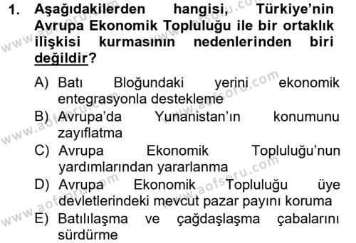 Uluslararası İlişkiler Bölümü 8. Yarıyıl Avrupa Birliği ve Türkiye İlişkileri Dersi 2013 Yılı Bahar Dönemi Dönem Sonu Sınavı 1. Soru