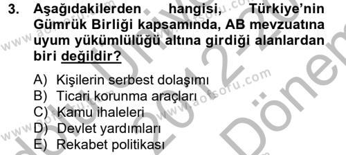 Avrupa Birliği ve Türkiye İlişkileri Dersi 2012 - 2013 Yılı Dönem Sonu Sınavı 3. Soru
