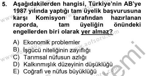 Uluslararası İlişkiler Bölümü 8. Yarıyıl Avrupa Birliği ve Türkiye İlişkileri Dersi 2013 Yılı Bahar Dönemi Dönem Sonu Sınavı 5. Soru