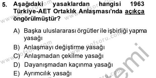 Uluslararası İlişkiler Bölümü 8. Yarıyıl Avrupa Birliği ve Türkiye İlişkileri Dersi 2014 Yılı Bahar Dönemi Ara Sınavı 5. Soru