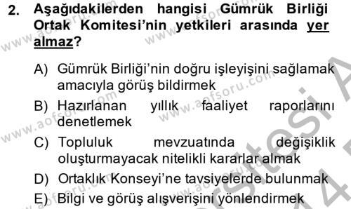Avrupa Birliği ve Türkiye İlişkileri Dersi 2013 - 2014 Yılı Dönem Sonu Sınavı 2. Soru
