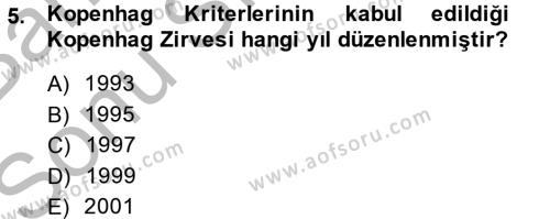Kamu Yönetimi Bölümü 8. Yarıyıl Avrupa Birliği ve Türkiye İlişkileri Dersi 2014 Yılı Bahar Dönemi Dönem Sonu Sınavı 5. Soru