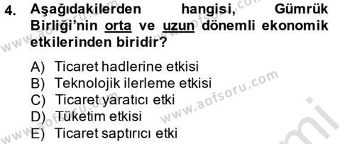 Avrupa Birliği ve Türkiye İlişkileri Dersi 2013 - 2014 Yılı Tek Ders Sınavı 4. Soru