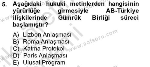 Kamu Yönetimi Bölümü 8. Yarıyıl Avrupa Birliği ve Türkiye İlişkileri Dersi 2014 Yılı Bahar Dönemi Tek Ders Sınavı 5. Soru