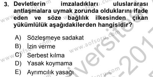 Avrupa Birliği ve Türkiye İlişkileri Dersi 2016 - 2017 Yılı 3 Ders Sınav Soruları 3. Soru