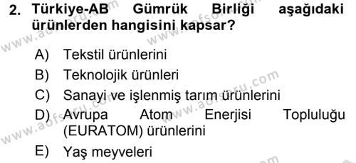 Avrupa Birliği ve Türkiye İlişkileri Dersi 2016 - 2017 Yılı (Final) Dönem Sonu Sınav Soruları 2. Soru