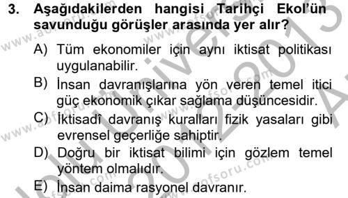 İktisat Bölümü 8. Yarıyıl İktisat Tarihi Dersi 2013 Yılı Bahar Dönemi Ara Sınavı 3. Soru