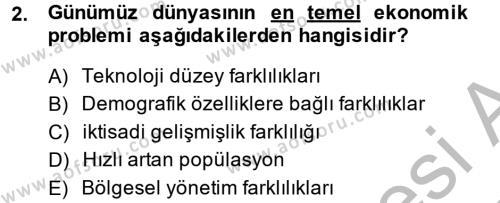 İktisat Bölümü 8. Yarıyıl İktisat Tarihi Dersi 2014 Yılı Bahar Dönemi Dönem Sonu Sınavı 2. Soru