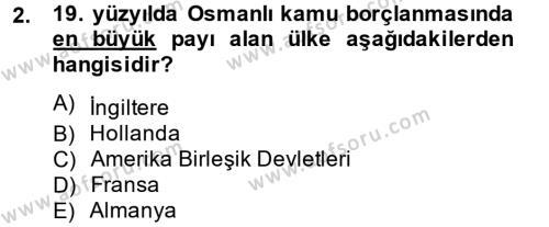 İktisat Tarihi Dersi 2014 - 2015 Yılı (Final) Dönem Sonu Sınav Soruları 2. Soru