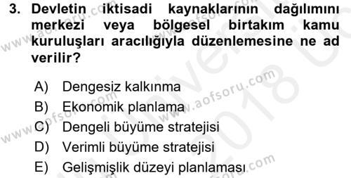 İktisat Tarihi Dersi 2017 - 2018 Yılı 3 Ders Sınav Soruları 3. Soru